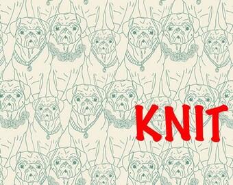 Pug Ville Vert Knit Fabric