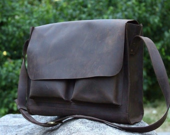 Messenger bag for Mens Brown Leather Satchel leather handbag leather laptop bag Leather bag hand made by SQB