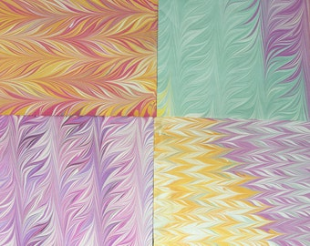 Hand Marbled Paper 4 pack #3