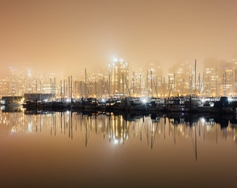 Vancouver Stanley Park and City Skyline under Fog Photography Print in British Columbia