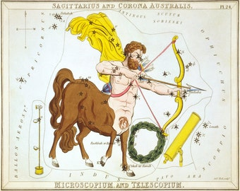 Sagittarius The Archer Zodiac Sign, Corona Australis Constellation Astronomy Stars Art Print Based On Urania's Mirror Celestial Cards B024