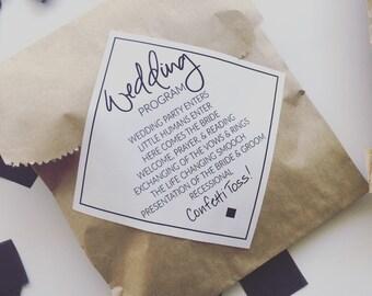 Wedding Program Sticker