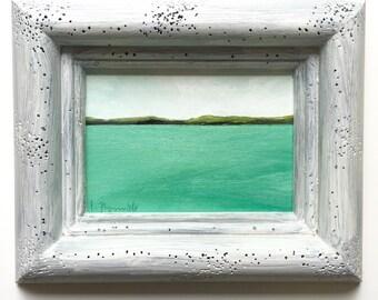 Great Lakes oil painting, lake michigan art, maritime art, seascape, water scene, lake house decor, beach house art, mini oil painting,
