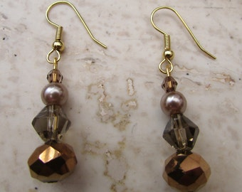 Bronze and gold coloured beaded earrings