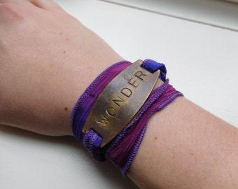 Wonder Hand Stamped Silk Wrap Bracelet