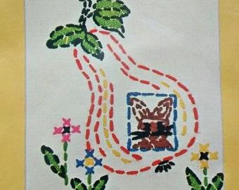 Crewel Embroidery Kit NOS Vogart 2682E Rabbit in Pear Vtg 1977