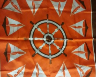 Vintage Rain Scarf Nautical Sailboats Captains Wheel Brown Orange White