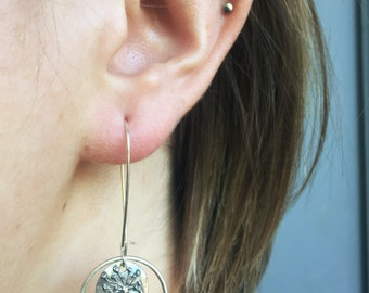 Silver Plated Flower/Hoop-Silver Plated Kidney Ear Wires
