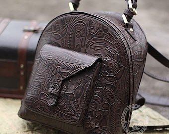 Tang dynasty flower design Arabesque pattern handcraft vintage genuine leather backpack