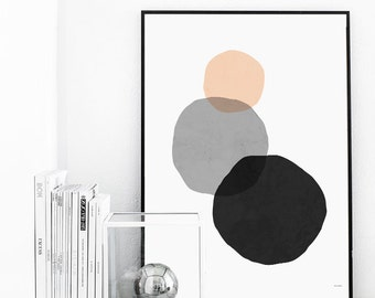 Minimal Geometric Art Print Drawing - Three Circles