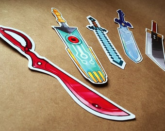Video Game Sword Bookmark Set | anime bookmark, bookmark set, otaku gift, unique bookmark, cute bookmark, geek bookmark, nerd bookmark