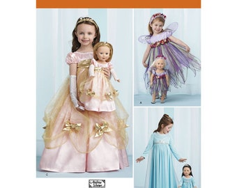 """Sewing Pattern for Princess Costumes for Child & 18"""" Doll, Simplicity Pattern 1305, Halloween Costume, Child and 18 Doll Fairy Costume"""