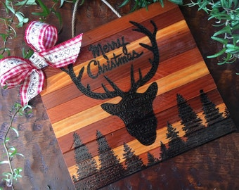 Merry Christmas wooden sign, holiday decor, deer antlers, Christmas decor, winter decor, happy holidays, merry Christmas, winter, pine trees