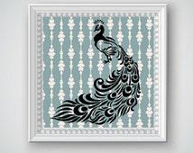 Peacock Wall Art, Peacock Decor, Peacock Printable, Bird Art, Bird Decor, Elegant Decor, Modern Decor, Beautiful Peacock, Digital Printable