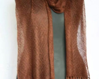Handmade knitted lace weight scarf