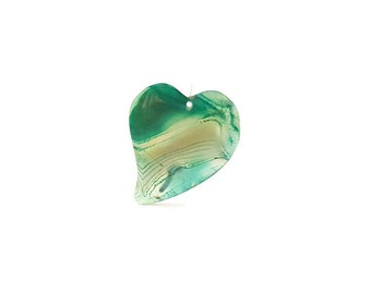 Sea Green, Blue, Clear and White Striped Onyx Agate Asymmetrical Heart Pendant
