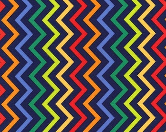 Primary - Mini Chic Chevron - end of bolt HALF YARD - Michael Miller - Cotton Fabric - Quilting Fabric