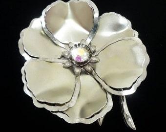 Vintage Silver Flower Brooch, Silver Flower Brooch, Large Brooches, Vintage Brooch, Antique Brooches, Retro Brooch, Vintage Pin