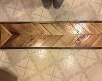 Chevron reclaimed wood bench