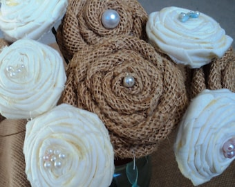 Burlap and Fabric Roses- set of 10, Rustic Rosettes, Rustic/Country/Barn Wedding Decor, Home Decor, Various size Rosettes for crafts