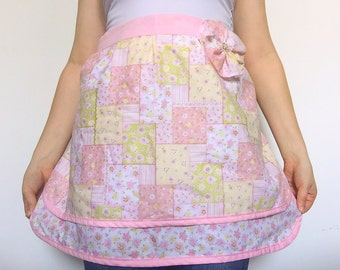 Pink Picnic Patter Half Apron with Flower