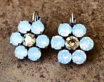 DAISY DANGLE Swarovski crystal 6mm lever-back earrings in antique silver - nickel free