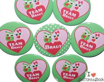 10 x JGA buttons hen party OWL green pink dots set colorful celebration wedding