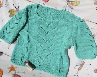 shortsweater, seagreen, M, New!, handmade