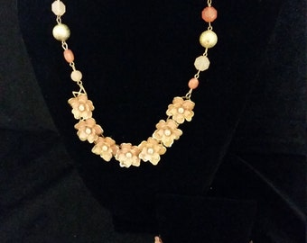 Necklace - Bracelet - Dainty Upcycled Repurposed Vintage Flower Necklace and Cuff Bracelet