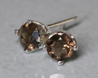 Natural Brown Smoky Quartz Silver Earrings - Earthy Chocolate Argentium Silver 5mm Genuine Gemstone Studs