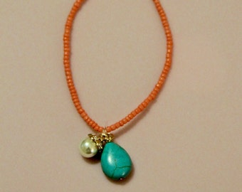 Anklet- Coral Beaded
