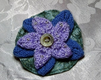 A hand-made dark blue and purple double flower brooch, hand knit flower pin, hand knit corsage