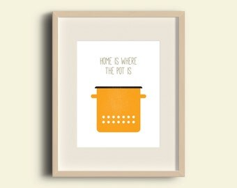 Home Is Where The Pot Is — yellow enamel cooking poster, quotes for wall, art wall, poster, print, printable, pot, enamel, yellow, dotted