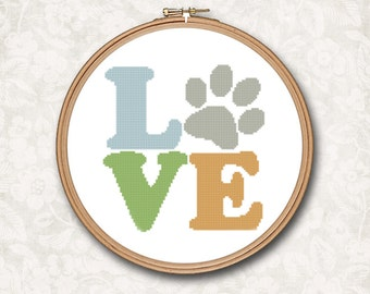 Puppy Dog Paw Love Counted Cross Stitch Pattern - PDF Digital Download