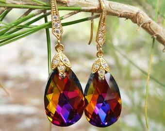 Volcano Swarovski Earrings,Swarovski Dangle Earrings,16K Gold Plated Earrings,Swarovski Drop Earrings,Luxury Earrings,Bridesmaid Earrings
