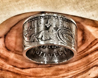 Pure Silver Standing Liberty Ring - Hand Forged from a 1 oz Pure Silver Round