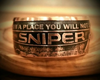 Sniper Ring - Sniper - Copper Sniper Ring - Hand Forged .999 Pure Copper Coin Ring