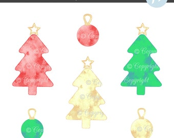 Watercolor Christmas Tree Clipart, Metallic Christmas Tree Clipart, Christmas Baubles Clipart, Christmas Clipart, Christmas Decoration, Red