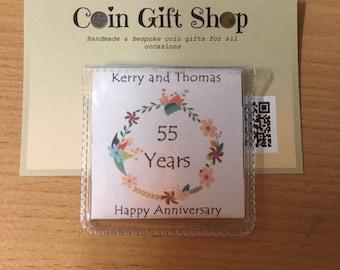 Personalised 55th wedding anniversary sixpence coin 1962 keepsake
