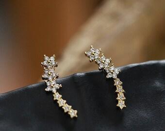 Crystal Earrings Flower Earrings Flower Earrings Silver Earrings Stud Ear Cuff  Silver Sterling Crystal Ear Jacket  Pierced Earrings
