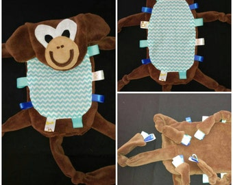 READY TO SHIP!!!Monkey crinkle toy. Taggie toy. Sensory toy. Chevron belly
