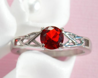 Stainless Steel Celtic Ruby Crystal July Birthstone Stackable Ring