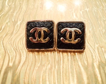 Chanel Inspired CC Gold Plated Stud Earrings