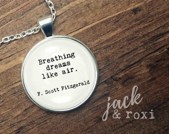 THE GREAT GATSBY - Quote Necklace, Literary Jewelry, Literary Necklace, Gift for Book Lover, The Great Gatsby Necklace,