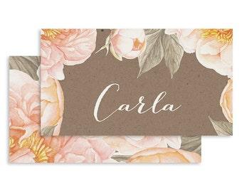Floral Wedding Place Card | DIGITAL FILE | Dauphine | Printable DIY Wedding Invite, Wedding Reception, Name Card - Set of 10