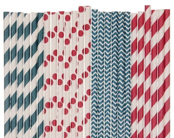 Paper Straw Mix, Patriotic Paper Straws, Red White and Blue Party, Patriotic 4th of July BBQ Pool Party Supplies, Memorial Day Beach Picnic
