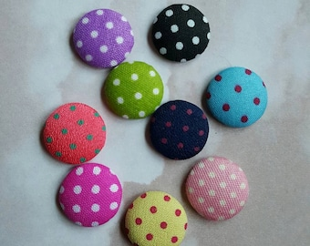 Fabric covered buttons polka dot buttons hairbow centers hair bow centers hairbows 9 count