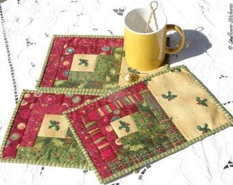Log Cabin Mug Rugs Pattern