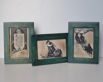 Framed Christmas Prints Xmas Display Christmas Mantel Decoration Shelf Sitter Xmas Rustic Décor Hand-painted Wood Frames and Canvas Prints