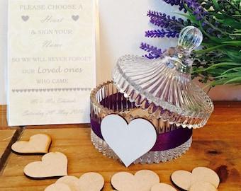 Personalised Wedding Guestbook Jar of Hears, Personalised Wedding Guestbook Jar with *30 hearts*, Wooden Hearts Wedding Guestbook